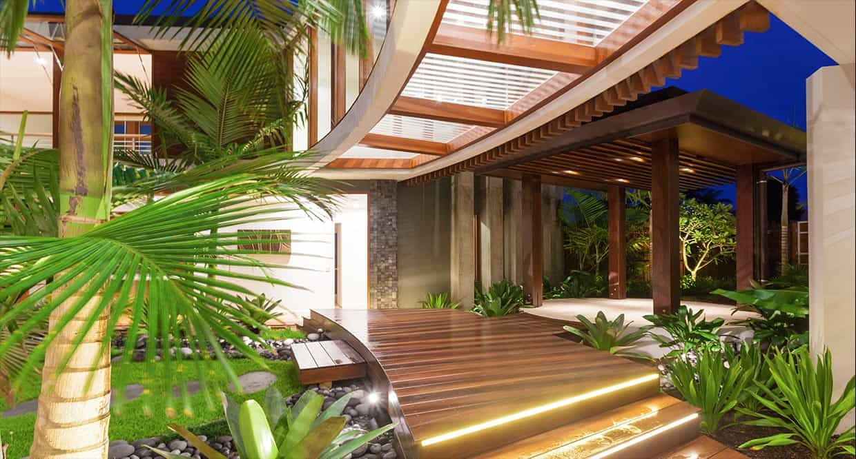 Project Name: Tropical House. Location: Noosa Waters, Sunshine Coast, QLD.  Status: Completed 2012. Building and Interior Design: Chris Clout Design.