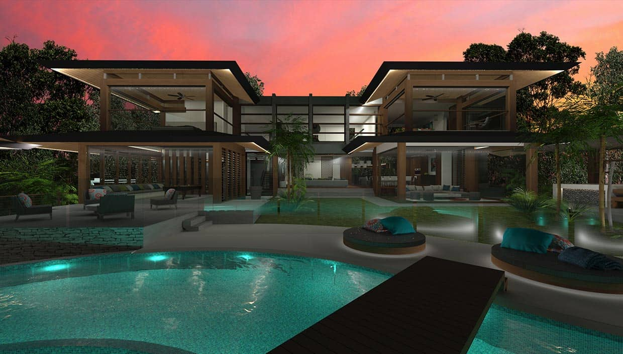 Resort house chris clout design for Home designs resort style